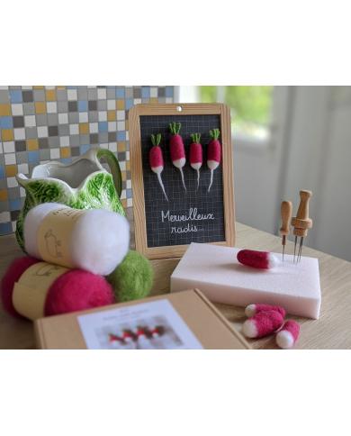 Kit radis feutrés en laine cardée