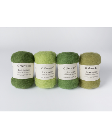 Carded wool green