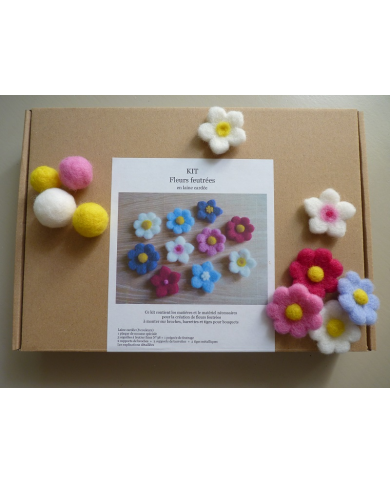 Carded wool flower creation kit