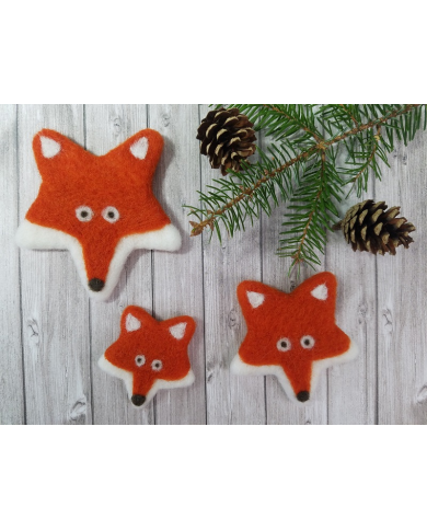 Kit felted fox pins in carded wool Ô Merveille!