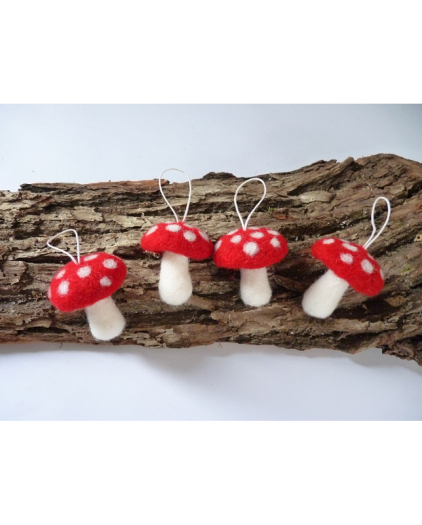 Kit of felted amanita mushrooms in carded wool