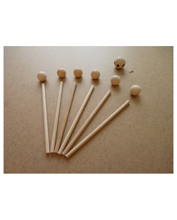 Mobile support in raw wood sold in kit of 13 pieces to mount