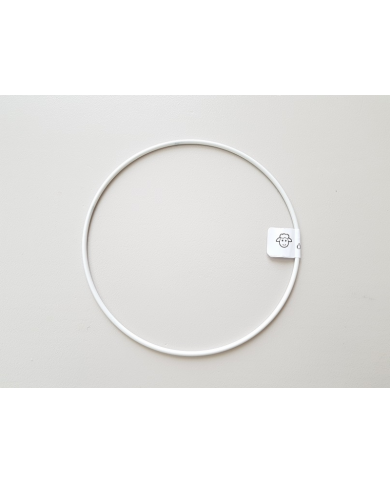 White painted metal circle 15 cm in diameter