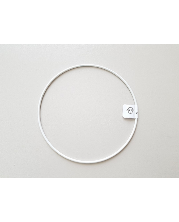 White painted metal circle 15 cm in diameter