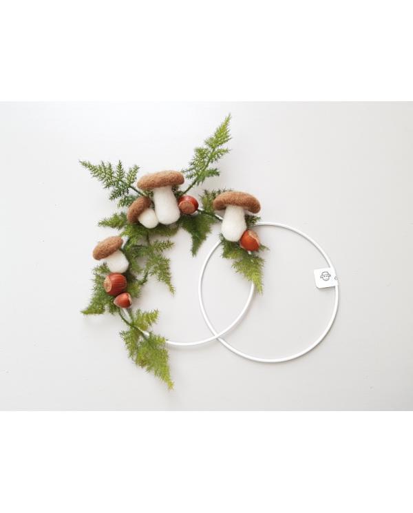 Wit gelakte metalen cirkel met een diameter van 15 cm