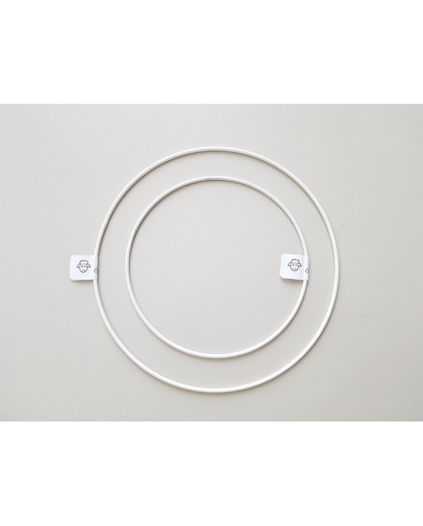 White painted metal circle 20 cm in diameter
