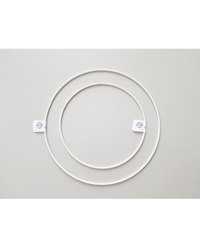 White painted metal circle 25 cm in diameter