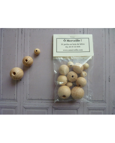 Sachet de 11 perles en bois de hêtre