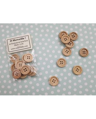 Zakje met 10 houten knopen 20 mm