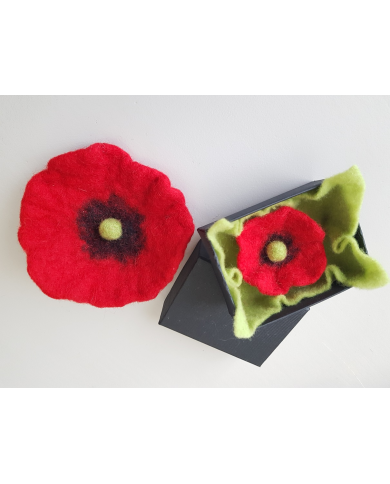 XXL felted poppy brooch