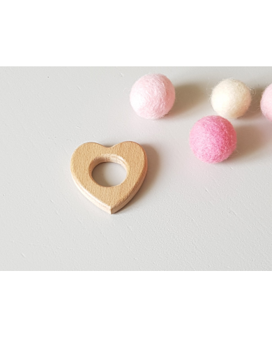 Small wooden heart ring for baby