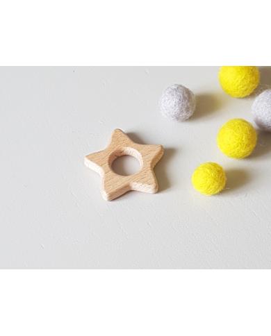 Anneau étoile en bois pour bébé