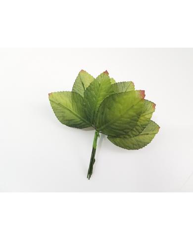 12 feuilles décoratives vertes modèle 5
